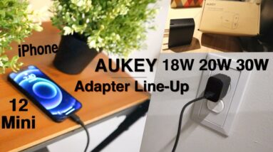 Aukey Charger Line Up for IPhone 12 Mini (Full Charging Times)